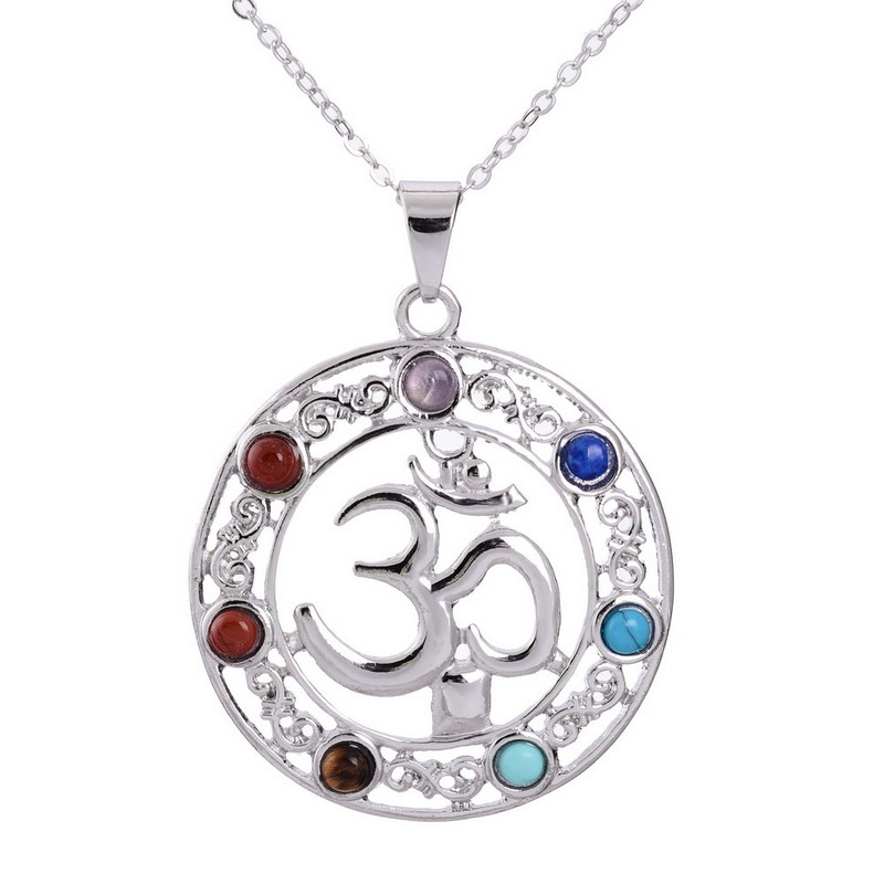 Colorful Irregular Natural Stone Alloy Pendant Necklace Thirty Digital Round Shaped White Gold Plated Necklace For Women Jewelry(China (Mainland))