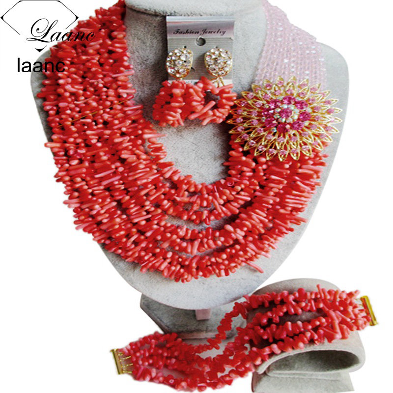 Nigerian Wedding African Coral Beads Jewelry Sets (19)