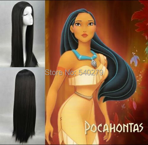 Cartoon Movie Pocahontas Cosplay Wigs Natural Black Long Straight Synthetic Hair Anime Costume Wig - HD online Store store