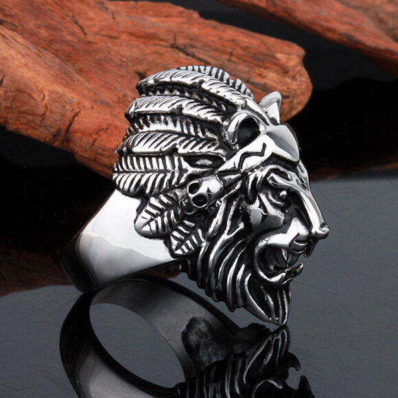 Titanium Steel Lion Head Rings For Men Allergy Free Punk Rock Jewelry Non-Mainstream Cool Mens Rings Party Accessory Friendship(China (Mainland))