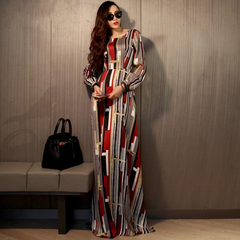 Presale 2016 Spring New Fashion Geometric Patterns Print Long Dress O Neck A-line Maxi Casual Dress Female Color Block Dress(China (Mainland))
