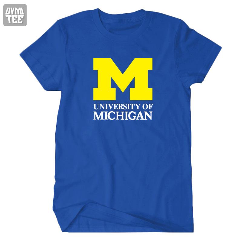 university of Michigan T shirt UM NCAA short sleeve unisex t-shirt premium cotton tshirt women men brand clothing camisetas(China (Mainland))