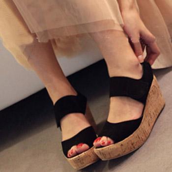 Wedges sandals female  genuine leather platform shoes plus size 9# 9.5# women's shoes sandals open toe