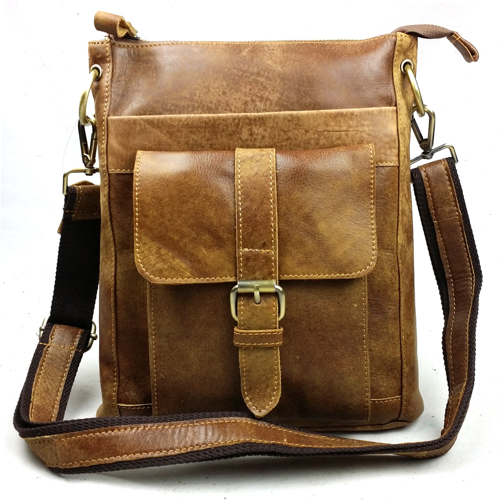 Vintage Cool Natural Genuine leather bag Fashion shoulder bag First layer of Cowhide men messenger bags Casual Briefcase 2016(China (Mainland))