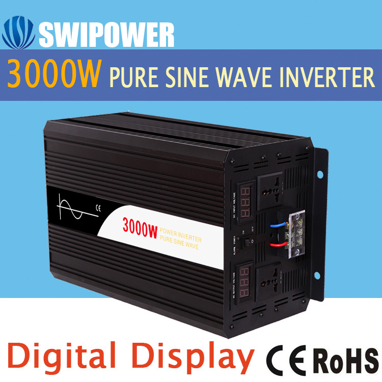 3000W pure sine wave solar power inverter DC 12V 24V 48V to AC 110V 220V digital display(China (Mainland))