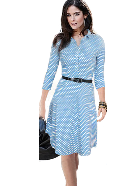 Classic American Style Polka Dot Print Pleated Blue Dress Long Sleeve Dresses New Fashion Street
