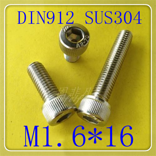 200PCS/LOT High Quality Stainless Steel 304 DIN912 M1.6*16 Hexagon Socket Head Cap Screw<br><br>Aliexpress