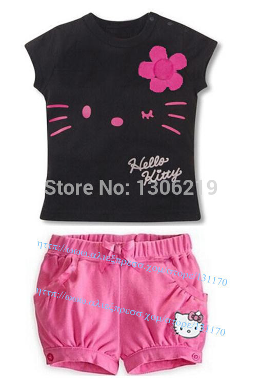 Retail 2015 children girls clothing set Summer hello kitty and minnie mouse baby kids child cartoon clothes sets t shirt suits(China (Mainland))