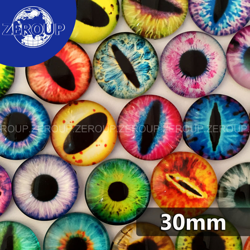 30mm 10pcs/lot Round Glass Cabochons Eyes Mixed Patterns Flat Back Pictures Handmade Cabochon Fashion Jewelry Findings(China (Mainland))
