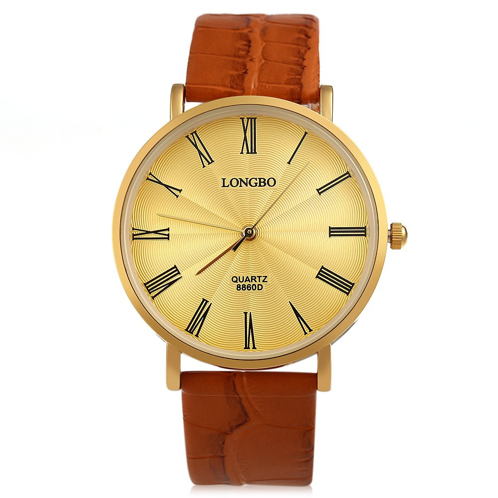 Longbo 8860D Men Ultrathin Leather Gold Plated Alloy Quartz Analog Watch Classic Pin Buckle Dress Watches Roman Numeral Scale<br><br>Aliexpress