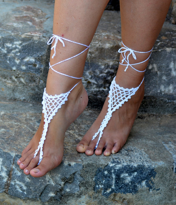 Crochet Barefoot Sandals,Filligree inspired- White Shoes- sandle Sexy Anklet(China (Mainland))