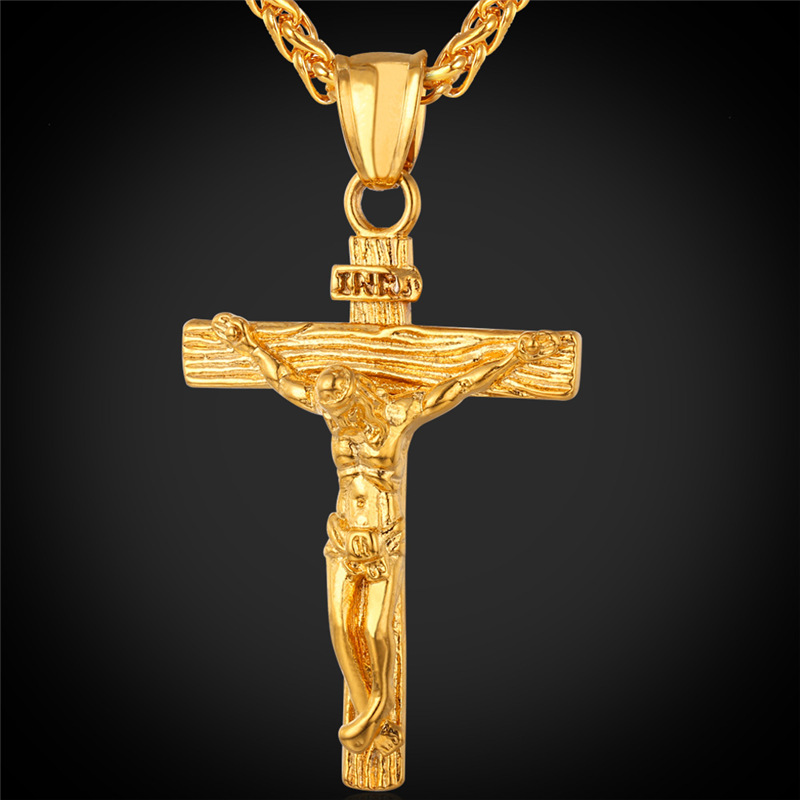 Gold Chain For Men Jesus Piece Trendy 18K Gold Plated Stainless Steel INRI Crucifix Cross Necklace Men Jewelry Wholesale IGP1166(China (Mainland))