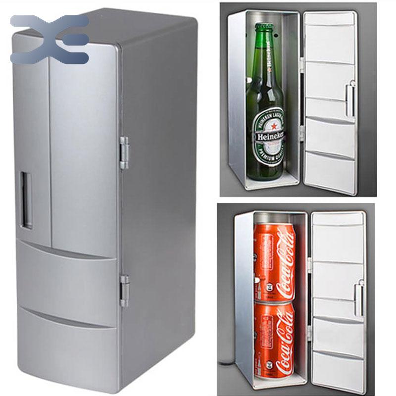 5Per Lot Portable Practical Mini USB Fridge Office Desktop PC Car Refrigerator Freezer Beverage Can Drink Cooler Plug & Play(China (Mainland))