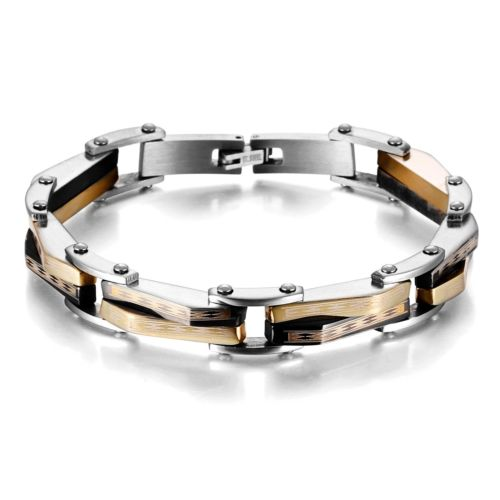 New 22cm*10mm Fashion Mens Gold Black Silver Stainless Steel Link Bracelet Male Boy Birthday Gift pulseira masculina(China (Mainland))