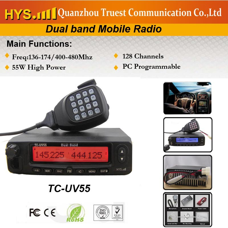 50W Dual Band Car Stations DTMF Microphone with Computer Programming cable software(China (Mainland))