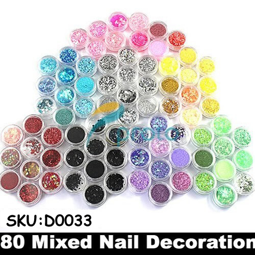 Wholesale 50sets/lot 80 Pots of Mixed Styles with Glitter Paillette Spangles Beads Powders for Nail Art Decoration SKU:D0033X<br><br>Aliexpress