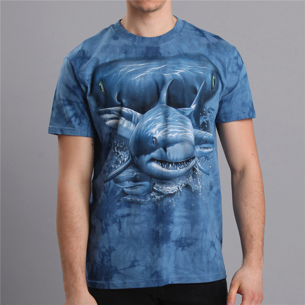 Plus size shark water printed o neck seamless 100% cotton t-shirt men blue color animal pattern clothes man MT-14127 - AZEL store