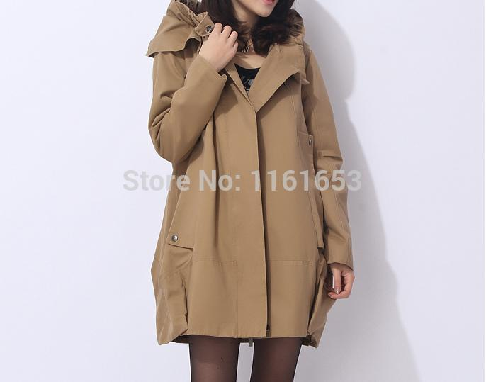 product akets Women Free Shipping Autumn Coat Cotton Hooded Windbreaker Long Relaxed Leisure Trench Collar Bigger Sizes Lotus Leaf Gets