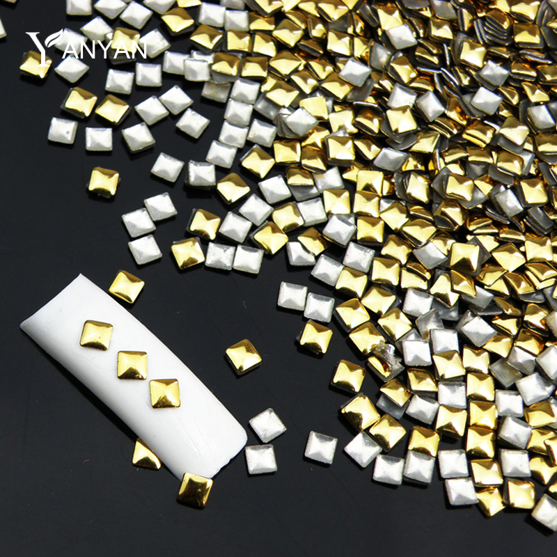 1000pcs/pack Square Gold Silver 3d Metal Nail Art Decorations Metallic Nail Rhinestone Studs DIY Manicure Nail Accessories Tools(China (Mainland))