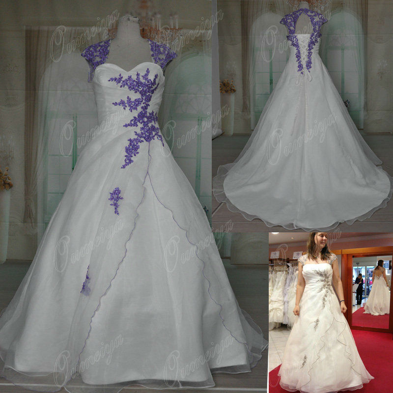 Orw295 oumeiya removable sleeves organza ivory and purple for Purple and ivory wedding dress