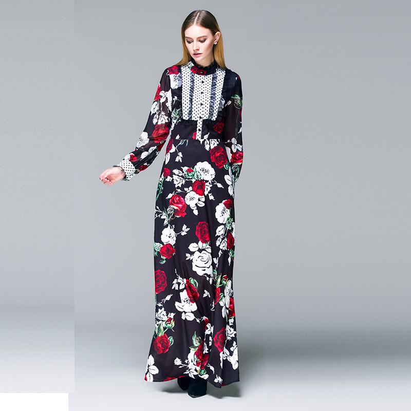designer 2015 women new Autumn runway brand fashion rose print ladies stitching long-sleeved Slim vintage casual maxi dressОдежда и ак�е��уары<br><br><br>Aliexpress