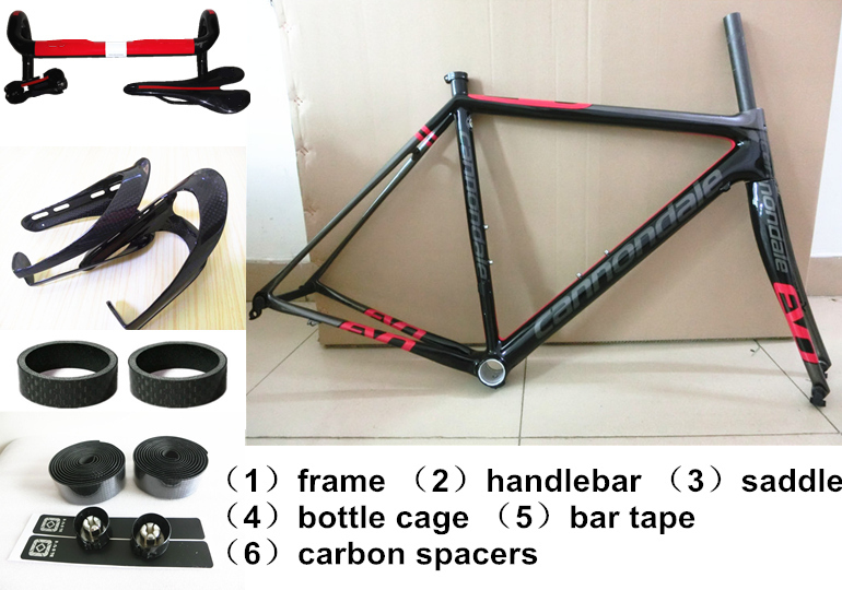 Red black Carbon carbon road bike complete bicycle carbon fiber frame bottle cage+saddle+handlebar+gift road racing bike frame(China (Mainland))