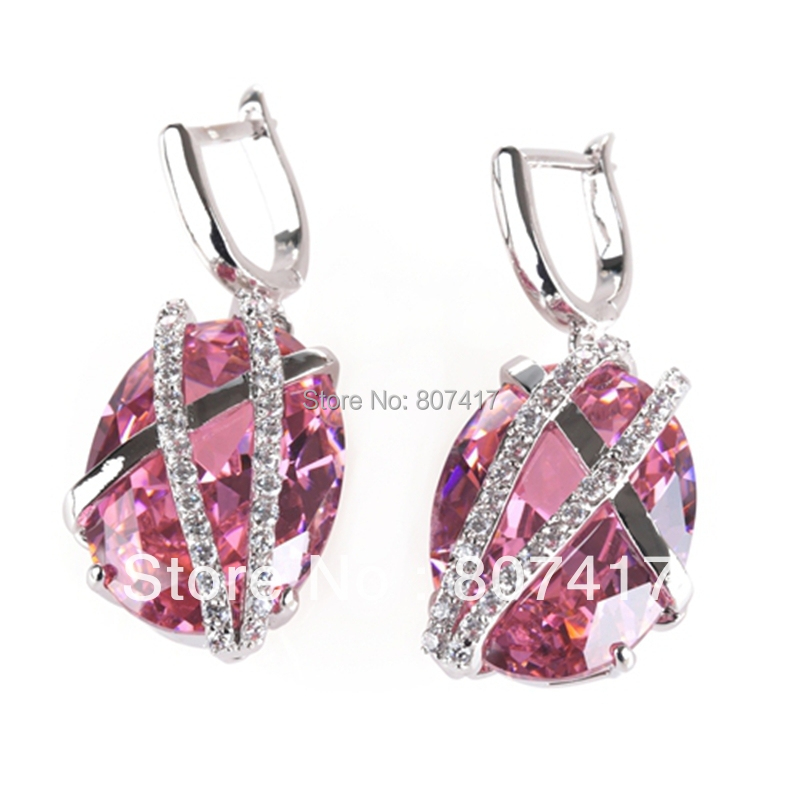 Free shipping Romantic PINK  fashion 925 Silver crystal Earrings R530<br><br>Aliexpress