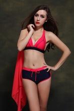 New Style Women 's Tracksuits Swimwear Halter Solid Bikini Top And Bottom Push Up Biquini Beach Wear Bikini Trajes De Bano DA811