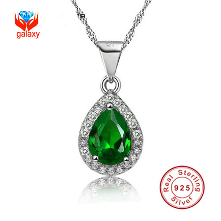 New Arrival Trendy 925 Sterling Silver Necklace Grade Emerald Green Cubic Zirconia Teardrop Pendant Necklace For Women ZD0004(China (Mainland))