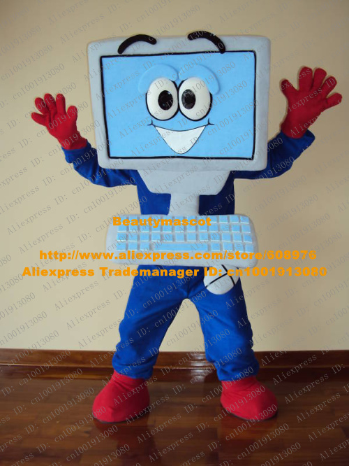 Vivid Blue Laptop Computer Mascot Costume Mascotte Adult Electron Brain Netbook With Big Eyes Smiling Face No.573 Free Shipping(China (Mainland))