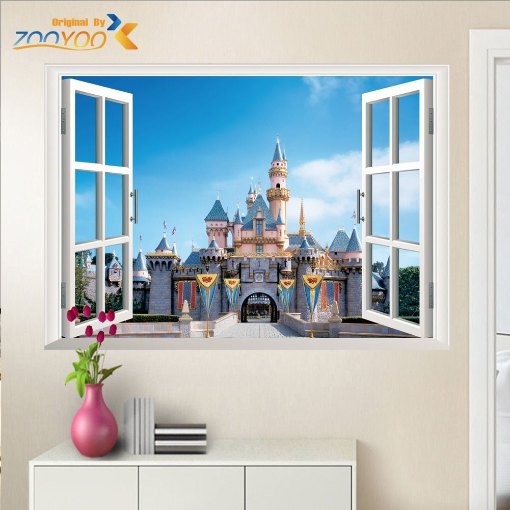 Buy princess castle windows wall stickers for Castle mural kids room