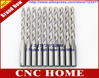 10pcs 3.175*2*22mm Carbide Ball Nose Milling Cutter, Machine Engraving Tools, End Mills, Carving Router Bits, 3D Relief on Wood