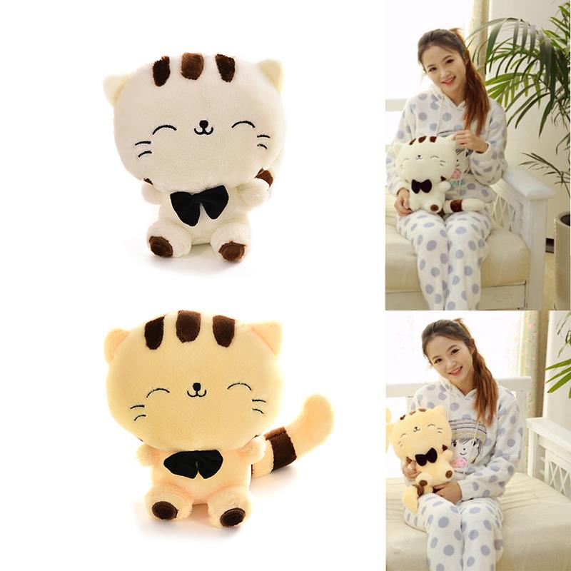 Free Shipping Cute Big Face Cat Stuffed Plush Toys with Big Tail Cartoon Style Graduation & Birthday Gift for Children(China (Mainland))
