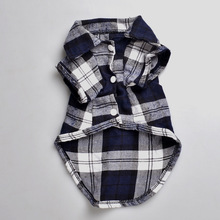 Plaids Grid Checker Shirt Lapel Costume Dog Clothes The Spring Festival T-shirt Autumn Spring Clothing For Pet Dogs Cat DC074