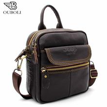 OUBOILI 100% Luxury Genuine Leather Men's Bag Cowhide Skin Shoulder Bag Briefcase high quality men messenger bags Waist Bags(China (Mainland))