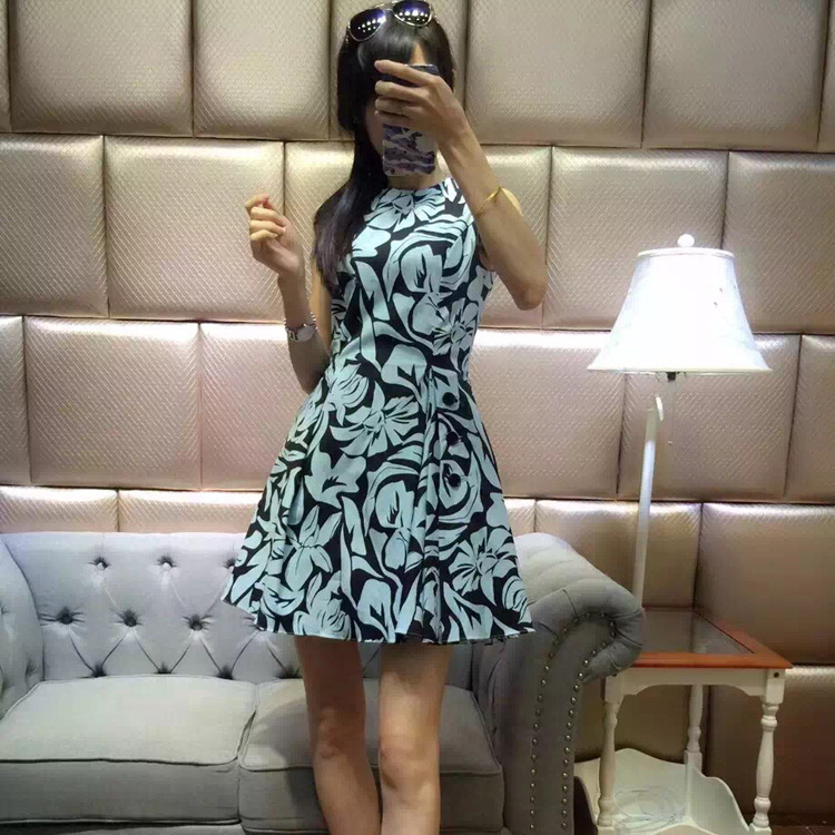 New 2016 spring brand fashion women sleeveless casual dress patterns print back pleated a-line dresses a little thick fabricОдежда и ак�е��уары<br><br><br>Aliexpress