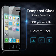 For iphone 4 4s 100 picecs 0.3 mm 2.5d Ultra Thin HD Clear Explosion-proof Tempered Glass Screen Protector Cover Guard Film