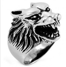 Free Shipping Alibaba Express Super Cool Wolf Rings Stainless Steel Punk Biker Man Ring jz0214
