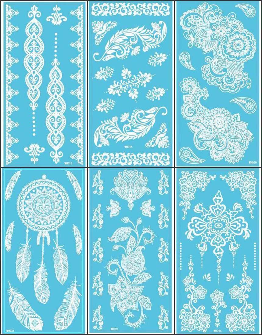 12Sheets New Lace White Henna Tattoo Sticker Totem Butterfly Sun 36 Designs Brand Temporary Tattoo Body Art for Women Tatuagem(China (Mainland))