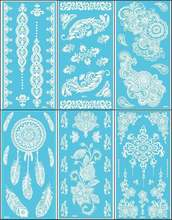 12Sheets New Lace White Henna Tattoo Sticker Totem Butterfly Sun 36 Designs Brand Temporary Tattoo Body Art for Women Tatuagem(China (Mainland))