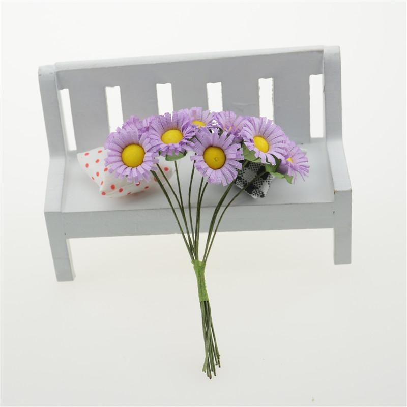 10 pcs bag Mulberry Paper Daisy Flower wedding flower Bouquet wire stem Scrapbooking Flower simulation flowers