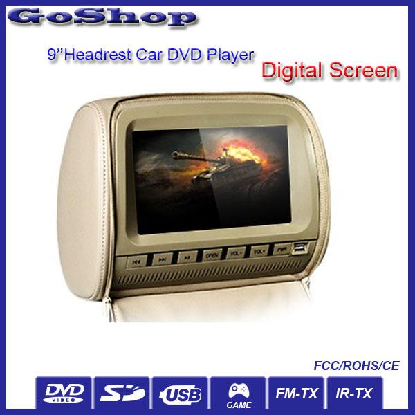 Automobile Grey 2X9'' Car Headrest DVD Multi-Media Player Digital Screen Game IR Headphones With Sony Lens(China (Mainland))