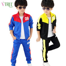 2016 spring teenage boys clothing set zipper sports clothes for boys children tracksuit kids sport suit china clothing factories(China (Mainland))
