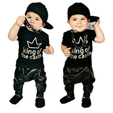 Toddler Baby Clothes 2016 Baby Boy King of the Castle T-shirt+Faux Leather Harem Pants Boy Outfits Set(China (Mainland))