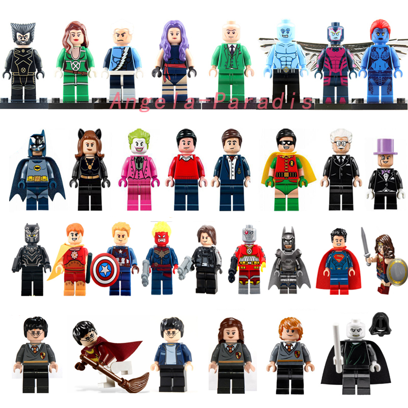 31pcs Super Hero Minifigures Marvel Mystique black panther Batman Catwoman Harry Potter Blocks Baby Toys compatible with lego(China (Mainland))
