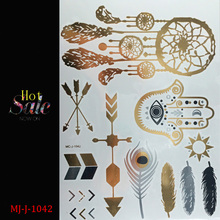 Free shopping Collection Gold Flash Tattoos Boho Temporary Jewelry Tattoos Buy This Metallic Jewelry Tattoo stickers(China (Mainland))