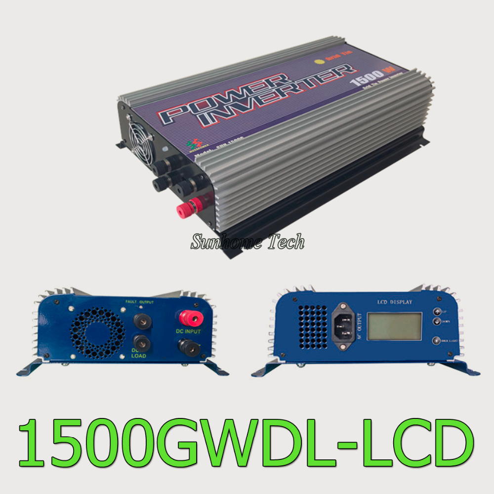 1500W LCD grid tie inverter with dump load for wind turbine,MPPT pure sine wave grid tie inverter 45-90V DC input(China (Mainland))