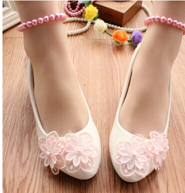 3CM heel Small low heel WHITE pink pumps shoes for woman, TG059 ankle beading pearls anklets straps bridal dance party pumps<br><br>Aliexpress