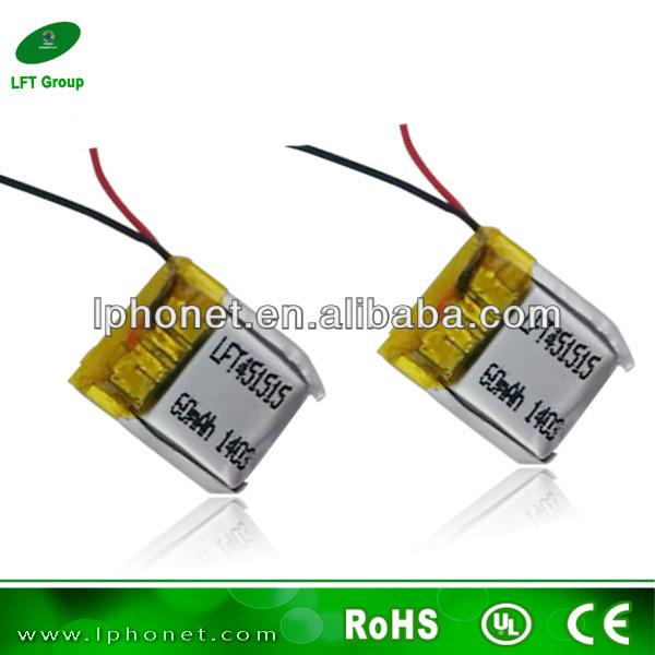 451515 ultra samll 3.7v 60mah li-polymer battery for wrist watch video recorder(China (Mainland))