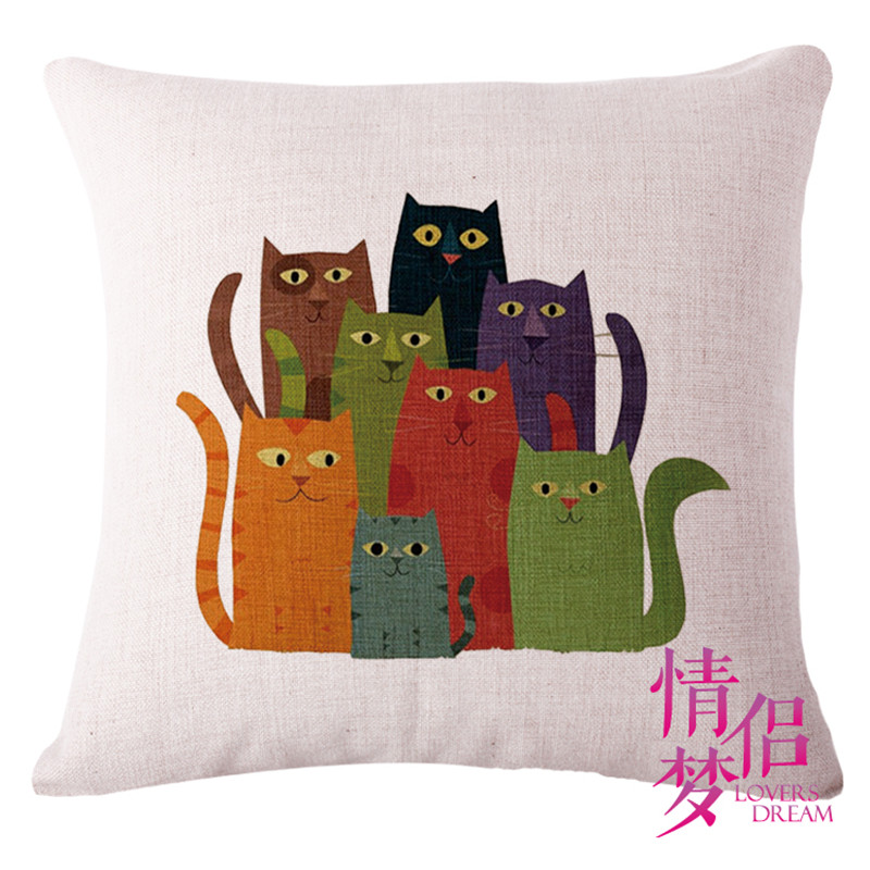 Fashion High Quality linen 8 Only Cats and Deer Owl Shell Pillow Case Back Cushion Cover